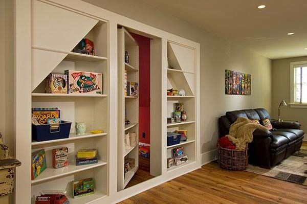 2.) Hide toy clutter with a hidden game room.