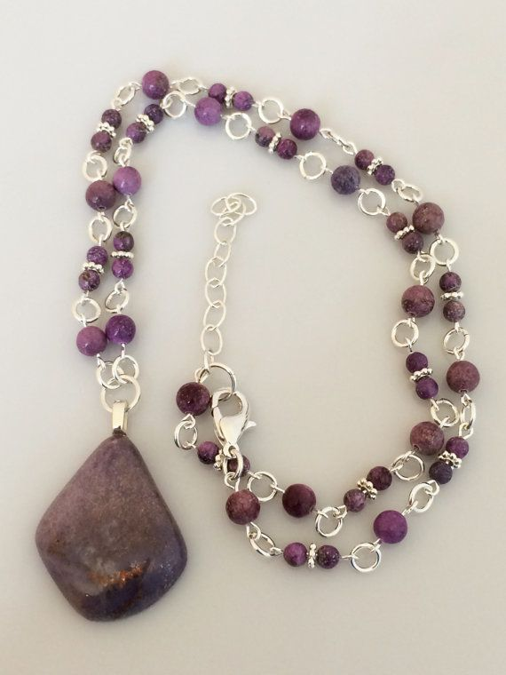 Purple Jadeite Pendant Necklace on Beaded Strand of by Rock2Gems