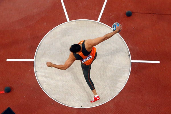 The Netherlands' Erik Cadee in the men's discus throw final on Day 11.
