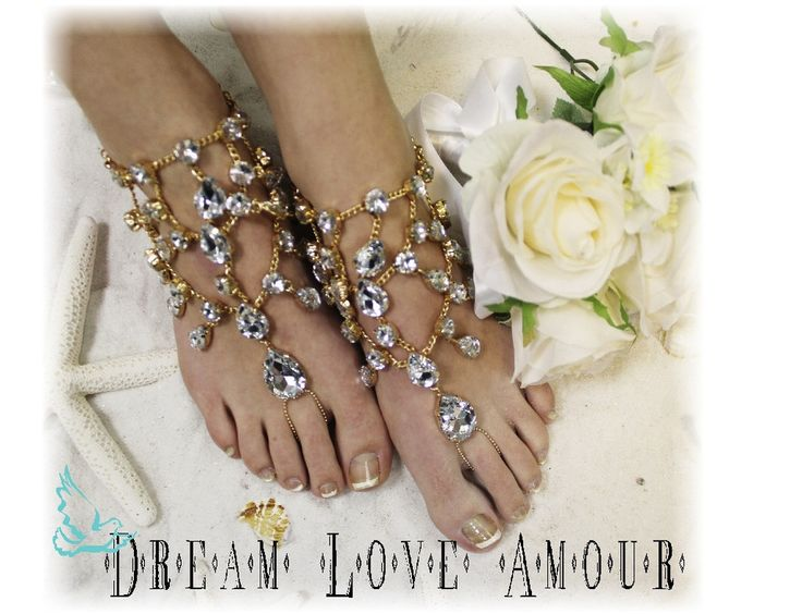 Barefoot sandals, foot jewelry, beach wedding, wedding shoes, rhinestones, CRYSTAL DREAMS gold barefoot sandals | SJ5