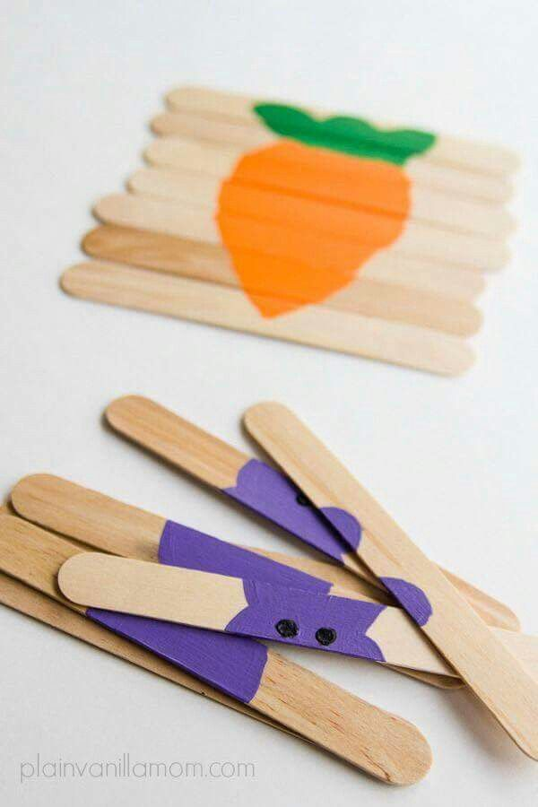 Draw a carrot, bunny or easter egg on Popsicle sticks for Easter craft