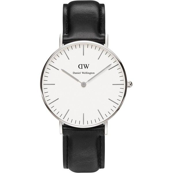 Daniel Wellington 36mm Classic Sheffield Lady (2 590 ZAR) ❤ liked on Polyvore featuring jewelry, watches, accessories, black silver, daniel wellington watches, daniel wellington, dial watches and black and silver jewelry