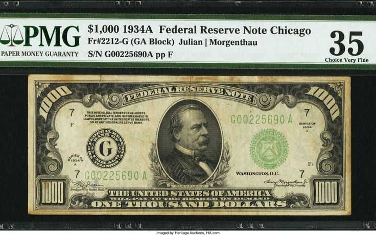 Fr. 2212-G $1,000 1934A Federal Reserve Note. PMG Choice Very Fine 35.