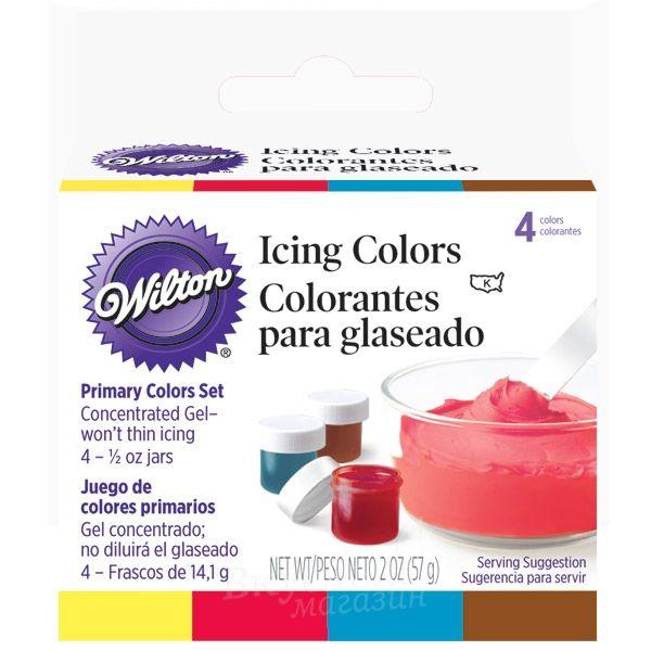 Краски гелевые Набор основные цвета Wilton, 4 цвета по 14 гр. 601-5127 | Лавка кулинара | Вкусный магазин