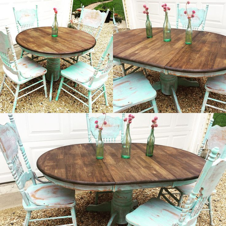 Blue Kitchen Table Set: 1000+ Ideas About Distressed Dining Tables On Pinterest