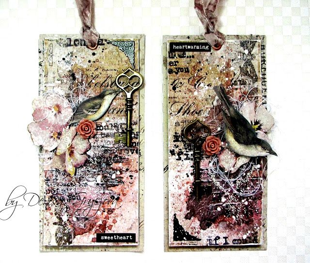 Scraps of Darkness scrapbook kits; Denisa Gryczova created these amazing mixed media tags with our February Heirloom kit. Subscribe to our kits and receive a new box of mixed media scrapbooking fun delivered to you each month. www.scrapsofdarkness.com