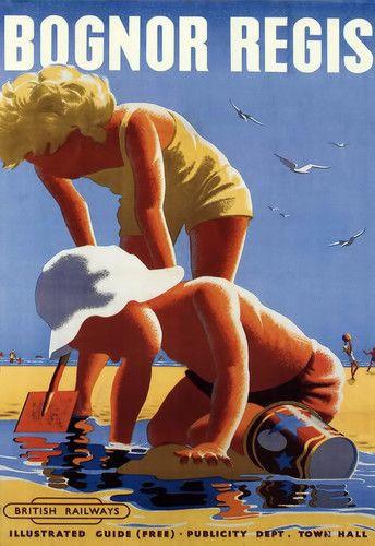 Art Ad Bognor Regis British Railways Fun on the Beach Rail Travel Poster