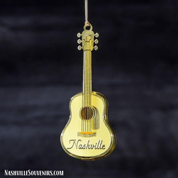 3d Brass Collectible Nashville Guitar Ornament Nashville Gifts Nashville How To Make Ornaments