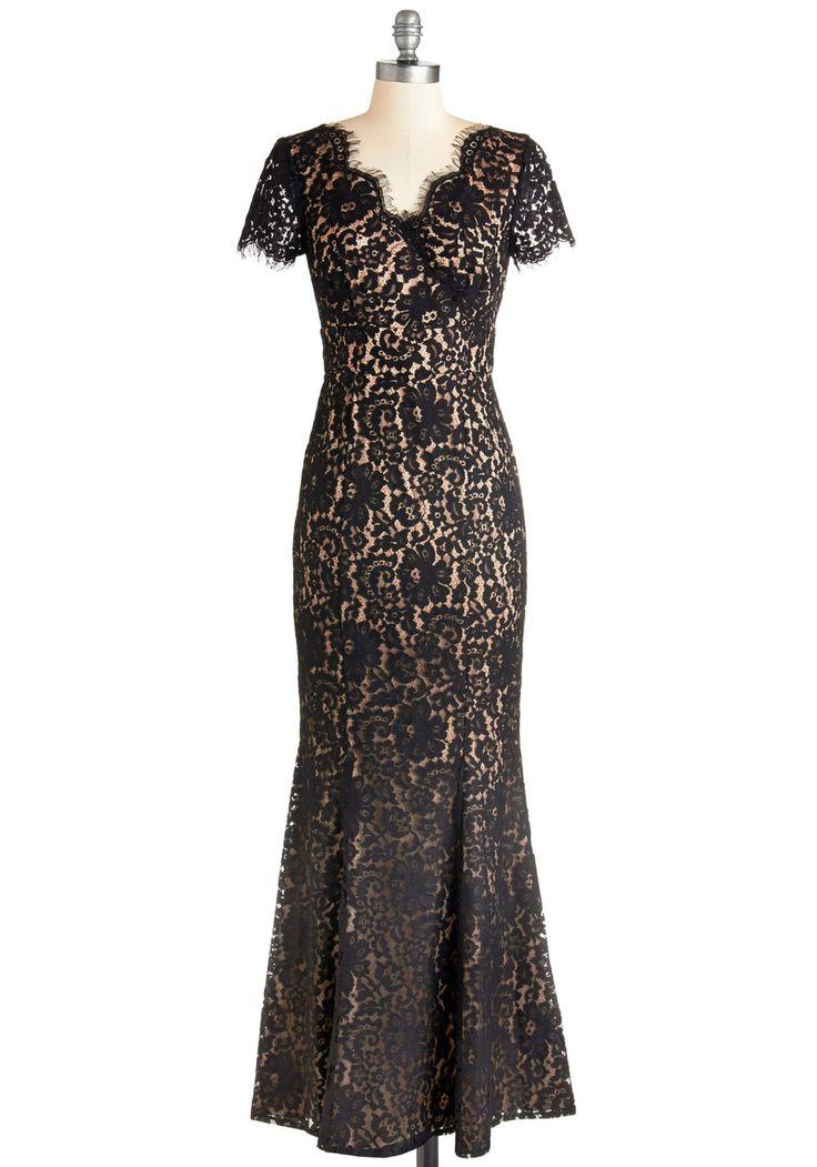 Nice trumpet skirt, lovely neckline. Descend to Your Darling Dress. #modcloth