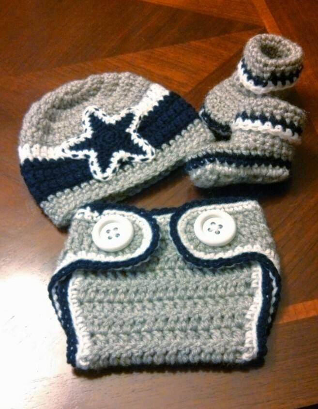 Dallas Cowboys crochet hat, diaper cover and booties www.facebook.com/girlsinstitches