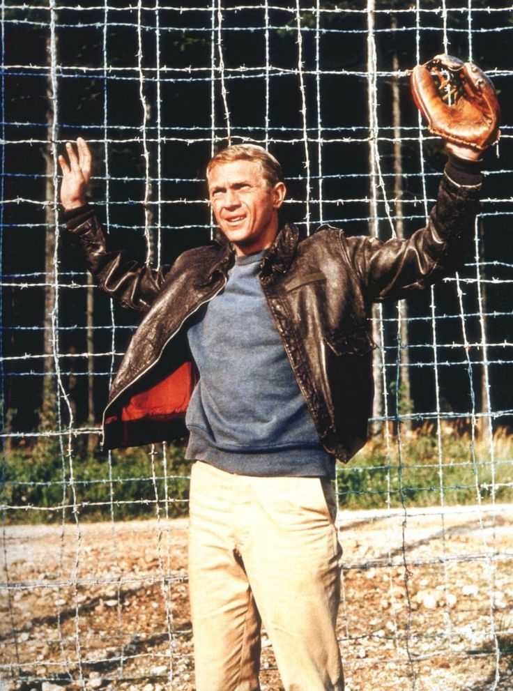 "Steve McQueen in ""The Great Escape"". THAT BASEBALL MITT HAHAHAHAHAHA!!!!!!"