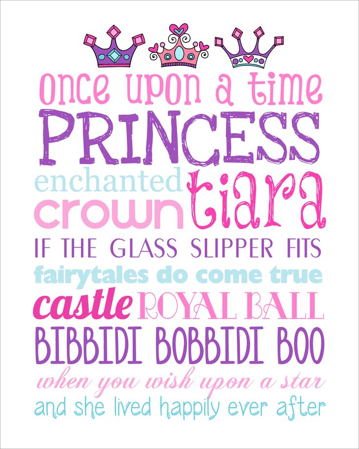 Princess subway art printable. Great for a bedroom or a gift for any little girl!