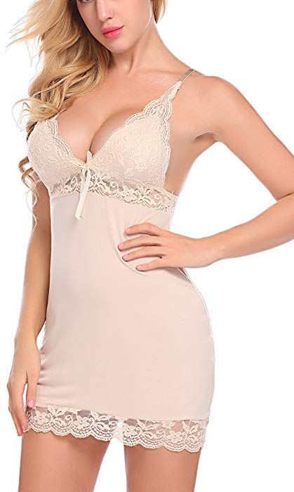 1f1364d27 Amazon.com  ADOME Women s Full Slip Modal Sleepwear Strap Nightgown V Neck  Chemise Lace Lingerie (S