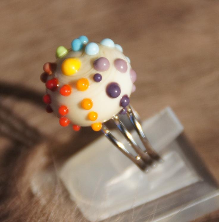 bague en verre filé par mes soins multicolore ring hand made glass flameworking www.alittlemarket.com/boutique/liloo-creations