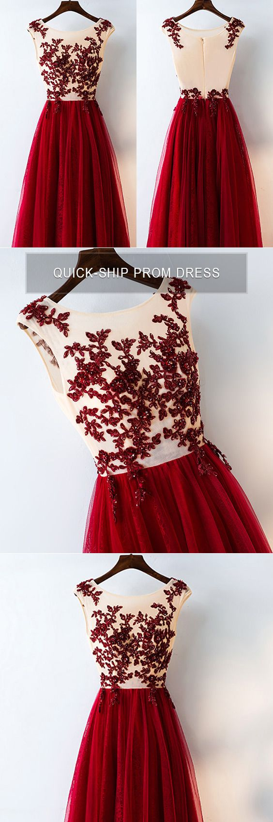 Formal Red Sequined Tulle Prom Dress Long With Lace # ...