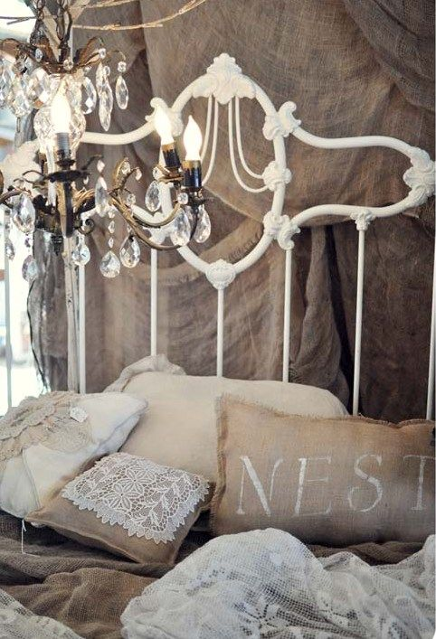Burlap, lace, white iron bed, pillow and chandelier Whitewashed Cottage chippy shabby chic french country rustic swedish decor idea. ***Pinned by oldattic***