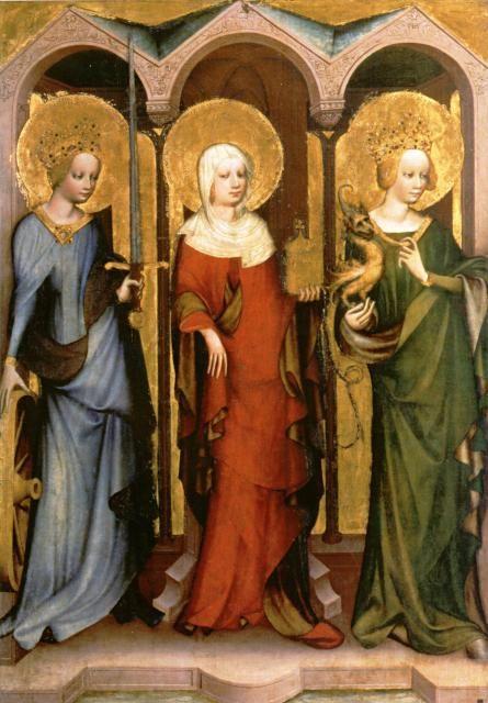 Mistr Třeboňského oltáře: sv. Kateřina, sv. Magdaléna a sv. Markéta, kol. 1380 - výrazné barvy, podšité pláště spojené ozdobnými sponami, gotický postoj s vystrčenou pánví, kurtoazní gesta (zejm. Markéta má stejné jako Reglindis), typické účesy ze stočených copů