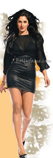 Katrina Kaif Hot Legs in Black Mini Dress  www.bollyfame.com