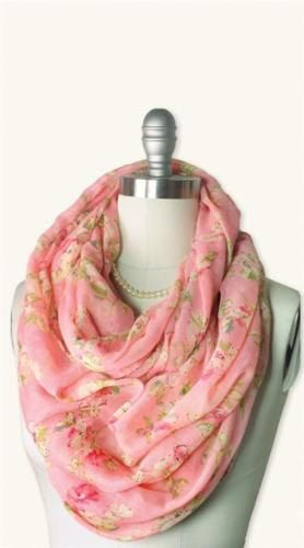 $14.99 - Floral Patterned Filmy Pink Gossamer Infinity Scarf