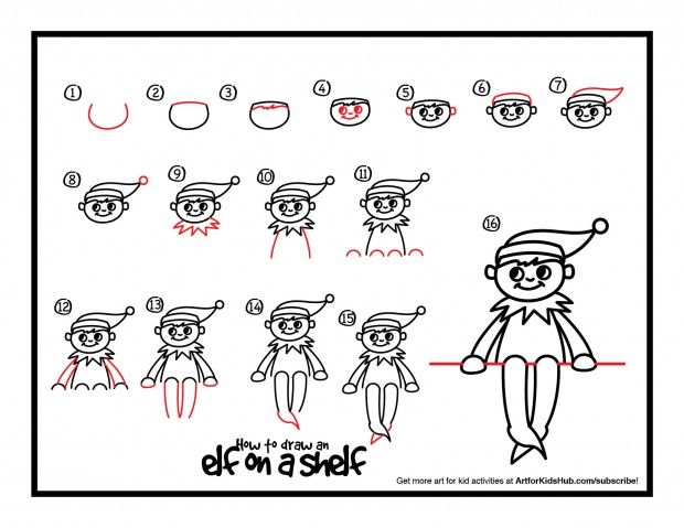Download how to draw an elf on a shelf