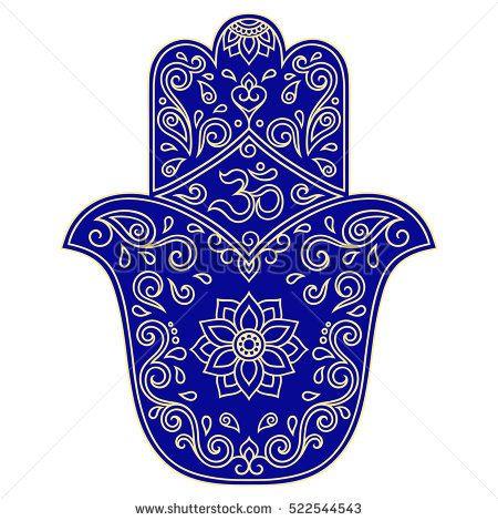 Color vector hamsa hand drawn symbol. OM symbol. Ancient oriental symbol, amulet protects from evil.