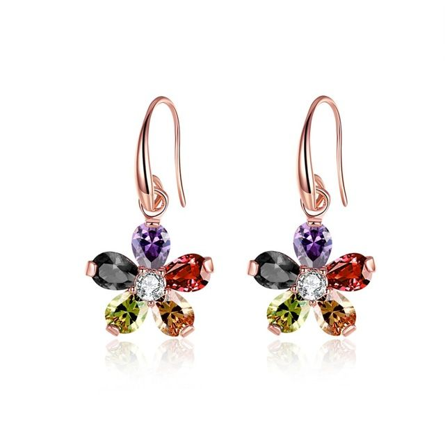 18k Golden Women blink shining Colorful flower drop earings gift box free shipping Ouro Princo NEW Fashion Jewelry