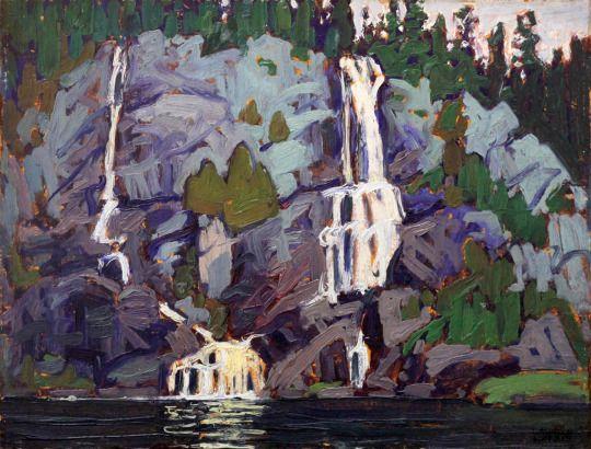 Lawren Harris (Canadian, 1885-1970), Waterfall, Agawa Canyon, 1919. Oil on panel, 10.5 x 13 in