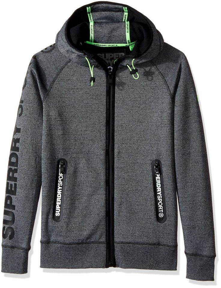 Superdry Men's Gym Tech Ziphood, Monoblack Grit/Black, Extra Large