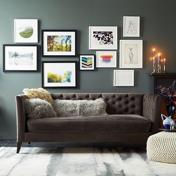 "Elton Daybed: Diamond in the tuft. With its generous padding, deep tufts and soft otter performance velvet upholstery, the Elton Daybed doubles as a high-style seat and a cozy sleeper. Its sophisticated good looks fit seamlessly into any space, from the living room to guest room. 83""w x 45""d x 35""h 