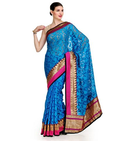 Turquoise Net Brasso Saree | Fabroop USA