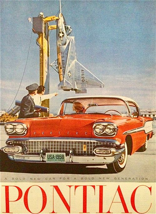 """I don't care what the guard said. You can't park on the experimental launch pad."" (Funny retro car ads0"