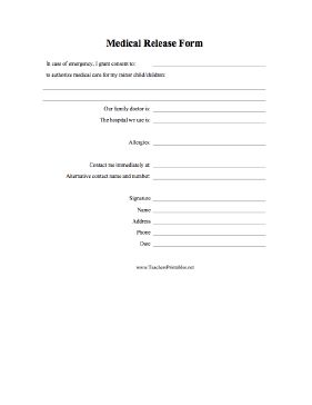 A medical release form for parents and guardians to complete authorizing emergency care to be sought. Free to download and print
