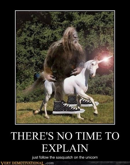 Bigfoot riding a unicorn