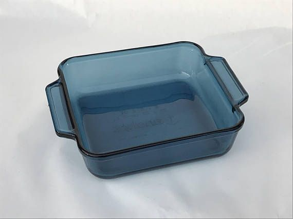 Vintage Blue Glass Baking Dish 8x8 Square Blue Glass Bakeware