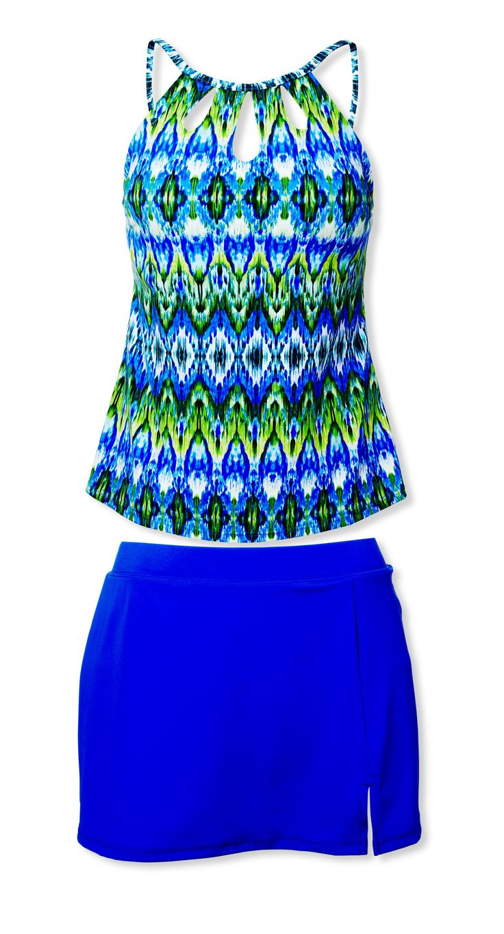 If your lower half (think thighs and tush too) is kind of a big deal, look for suits that keep it under wraps or draw the eye up to your face, neck and shoulders.  This simple skirt covers, but the eye-catching top with keyholes is the star. Caribbean Joe High Neck Cut Out Tankini, $62, Macys.com (Sizes 8 to 16) Side Slit Skirt, $42; Cyberswim.com (Sizes 8 to 14)  - WomansDay.com