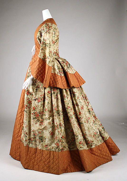 Quilted silk wrapper, ca. 1855, British (Costume Institute collection at the Metropolitan Museum of Art)