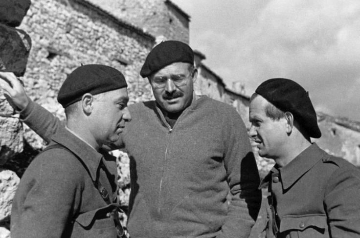 Hemingway with Republican soldiers during Spain's civil war, 1930s.