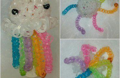 Petite méduse jellyfish Rainbow loom à quatre mains