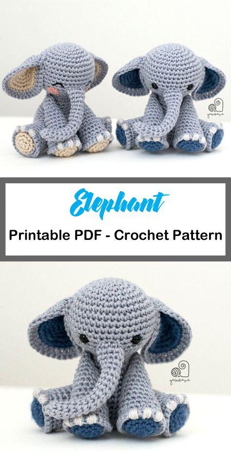 Elephant Crochet Patterns – Cute Toys – A More Crafty Life #amigurumi #crochet…