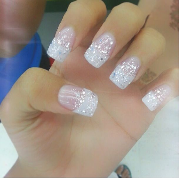 Shinny White Nails