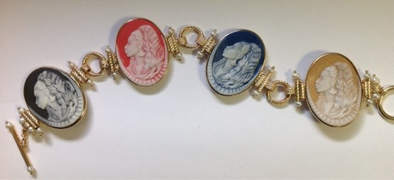 14k & multi colored porcelain Cameo bracelet with toggle closure by Donna Chambers