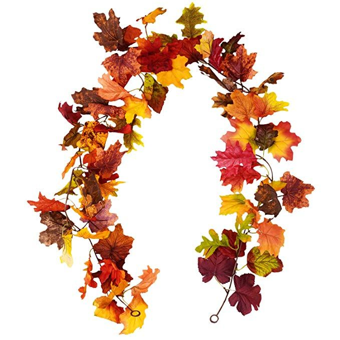 Sunm Boutique 2 Pcs Artificial Maple Leaf Garland Hanging Fall Leave Vines Hanging Plants For Indoor Outdoor Autumn Wedding Door Fireplace Thanksgiving Festival Fall Wedding Favors Diy Wedding Favors Fall Wedding Doors
