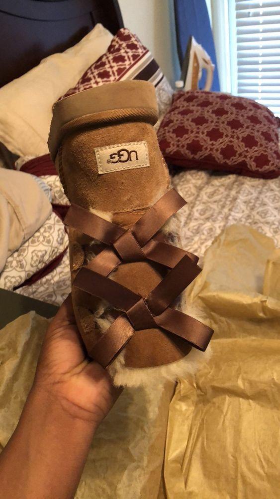 3e495ed9351 Kids UGG Australia Bailey Bow Boots Suede 3280Y Chestnut Big Kid 6 ...
