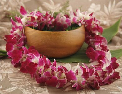 Hawaiian orchid leis!! with delicious plumerias.  I also love the orchid ones!