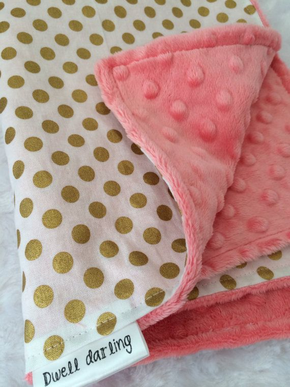 Gold dot lovey securoty blanket, coral minky, gold nursery, girl baby shower gift, coral nursery, toddler security blanket, modern, gift on Etsy, $15.00