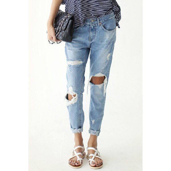 Wholesale Street Style Broken Hole Ninth-Length Slimming Jeans For Women Only $8.64 Drop Shipping   TrendsGal.com