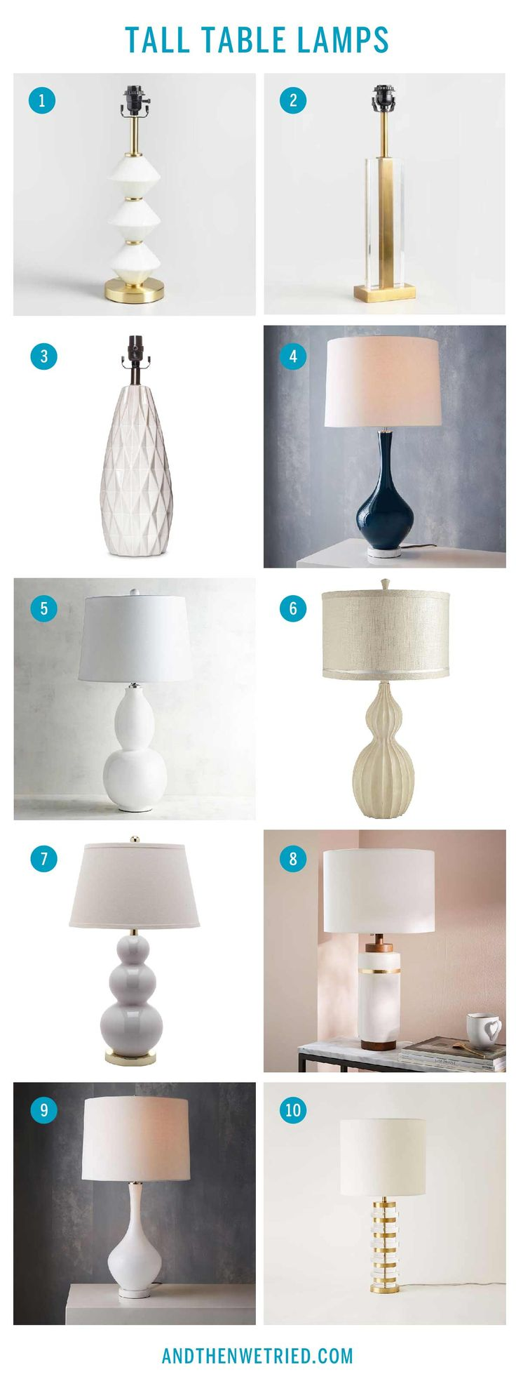 """Our top ten tall table lamps for a living room end table. We searching the internet to find beautiful ceramic or glass table lamps with approximately 20"""" tall bases"""