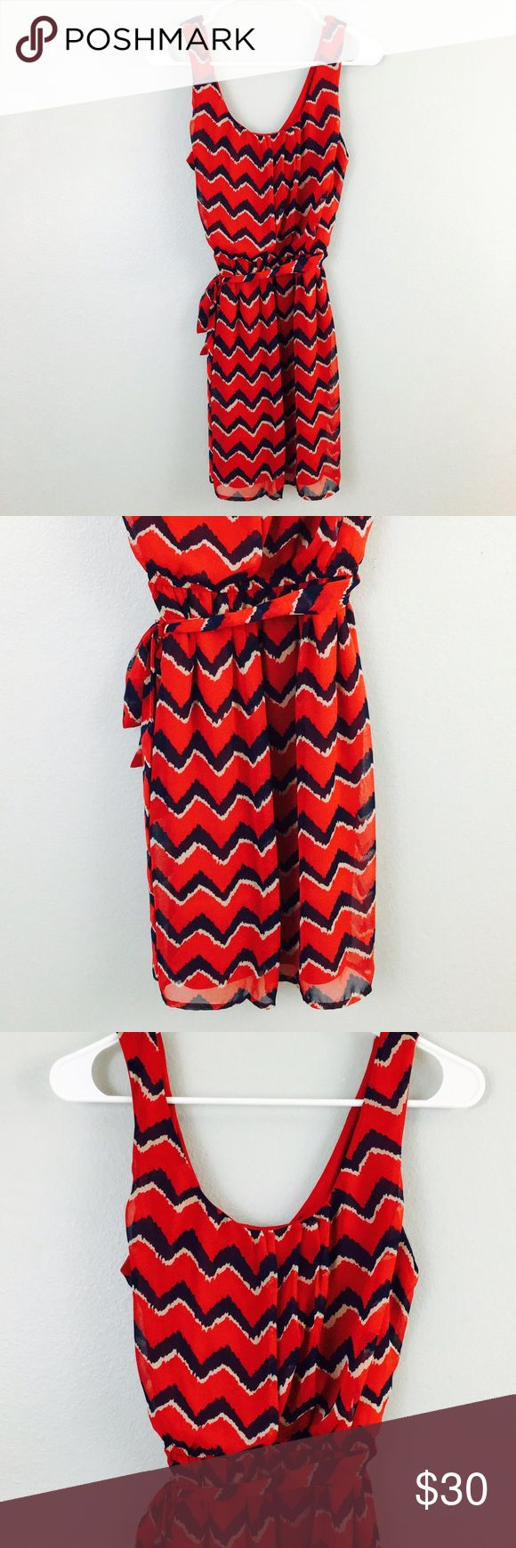 As You Wish Red & Blue Chevron Dress! Size large! as you wish Dresses