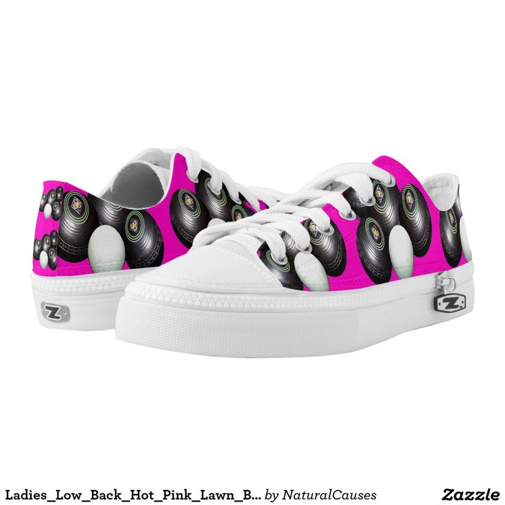 Ladies_Low_Back_Hot_Pink_Lawn_Bowls_Zipz_Sneakers. Printed Shoes