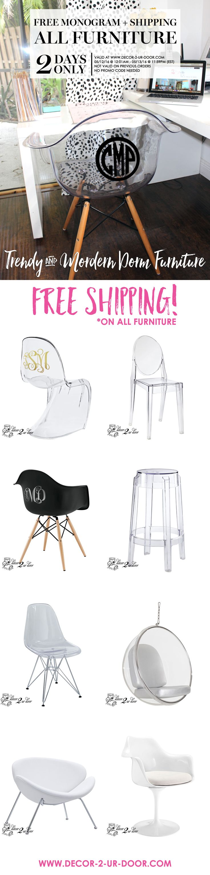 Don't miss out on this promo! FREE MONOGRAM and FREE SHIPPING to make your dorm..awesome!